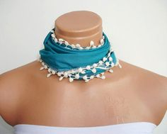 Personalized Design Turquoise Blue Scarf by WomanStyleStore, $14.00