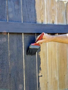 A wooden fence is a great benefit to your property value and curb appeal…. The best way to make your wood fence last is to keep it painted and/or stai… Fence Art, Diy Fence, Backyard Fences, Wooden Fence, Backyard Landscaping, Painted Wood Fence, Fence Ideas, Garden Fences, Patio Ideas