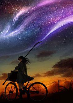 Girl riding bike under the purple swirled sky. Cool digital art.