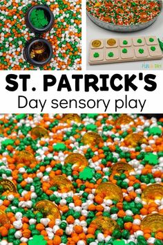 Make a gorgeous and easy St. Patrick's Day sensory bin! Then use manipulatives, magnetic letters, 10-frames, and other additions to turn it into a multi-faceted learning experience. Literacy, math, and more can be taught with this bin! Sensory Bottles, Sensory Bins, Sensory Play, Early Learning Activities, Preschool Activities, Dry Chickpeas, Liquid Watercolor, Magnetic Letters, Preschool Lesson Plans