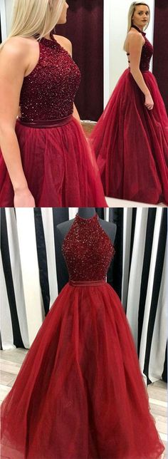 Luxurious Red High Neck A-Line Sleeveless Long Prom Dress with Beading #Red #Highneck #Halter #Tulle