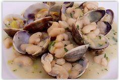 Recetas de cocina española: Fabes con Almejas - Receta típica Asturiana