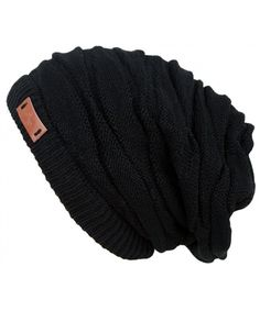 17e6e5188e8 Women s Casual Knit Multi Purpose Winter Thick Warm Slouchy Headwrap Beanie  Cap Hat Black CZ12506G1BR