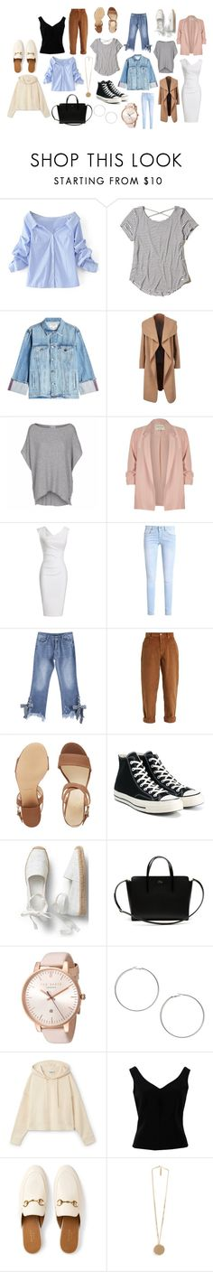 """""""Monica Geller"""" by ishita-kapoor on Polyvore featuring WithChic, Hollister Co., Frame, River Island, Miu Miu, Nine West, Converse, Lacoste, Ted Baker and Miss Selfridge"""