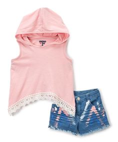 Mini fashion mavens will delight in this too-cool set boasting soft cotton-blend fabric and crocheted accents on the hoodie. Includes hoodie and shorts60% cotton / 40% polyesterMachine wash; tumble dryImported