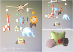 Baby mobile  Animals Mobile  Forest Mobile  Zoo by LoveFeltXoXo, $145.00