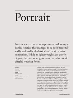 """We are introducing """"Interviews"""" to the website and I really love the layout of this page /// Portrait family 1 600 xxx: Web Design, Graphic Design Studio, Font Design, Design Food, Design Typography, Book Design Layout, Print Layout, Typography Inspiration, Graphic Design Inspiration"""