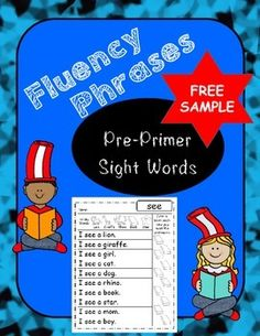 Enjoy 3 FREE printables for you to use with your class.  The entire packet consists of 39 PrePrimer words.  Each printable page has the word at the top, 10 phrases for each word, 10 books so the kids can color in each time they read all of the phrases, and pictures for tricky words (vocabulary).