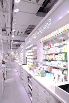 Studio Thoernblom   Millennium Apotheke, pharmacy design Pharmacy Store, Drug Store, Pharmacy Images, Supermarket Design, Cosmetic Shop, Shop Interiors, Retail Design, Shops, Store Design