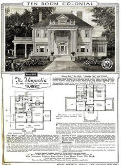 Sears Magnolia Catalog Image - Sears Catalog Home - Wikipedia The Plan, How To Plan, Sears Catalog Homes, Casa Top, Suburban House, Vintage House Plans, Vintage Houses, Antebellum Homes, Villa