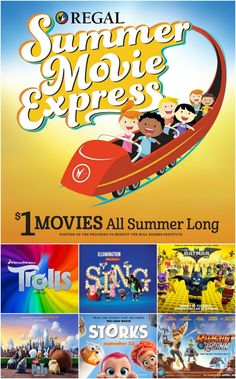 REGAL SUMMER MOVIE EXPRESS 2017 – $1 MOVIES all summer!!  Get the schedule and locate theaters near you!