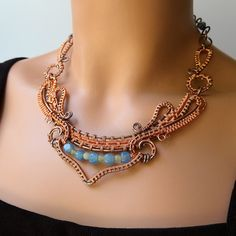 Dance - Copper Wire Wrapped Statement Necklace Blue Green Flowing Woven