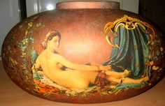 PILLOW VASE .. Decorated the same on both sides...COPPER and BLUE TONES