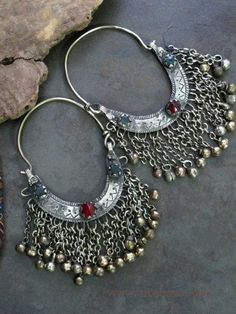 Big Vintage Kuchi Tribal Jewelry Crescent Earrings