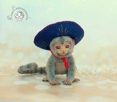 Needle felted monkey marmozet ,needle felted toy, needle felting,toys,needle felted animal,OOAK, collectible toy, handmade toy by Yuliasfelt on Etsy