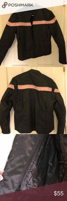 Daniel Donovan Lightweight Motorcycle Jacket Small black w/pink reflective stripe motorcycle jacket with removable liner. Lightly used, good condition. Daniel Donovan Jackets & Coats Utility Jackets