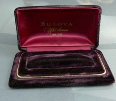 #Vintage Bulova 5th Ave Velvet Wristwatch Box by jujubeezcloset, $20.00
