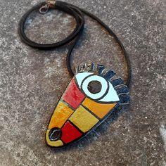 Tribal Mask Evil Eye Ceramic Necklace