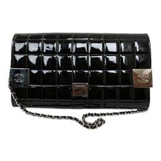 Chanel -Quilted Black Patent Leather CC Logo Bag