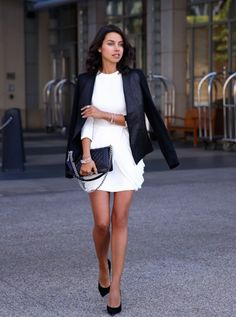 Perfect black and white look by vivaluxury - one of the blogs #PANDORAloves | www.goldcasters.com