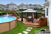 Patio Design - Construction & Design of Patios for a pool Oberirdischer Pool, Swimming Pools Backyard, Pool Landscaping, Pool Fun, Above Ground Pool Decks, In Ground Pools, Patio Plan, Cozy Patio, Cement Patio