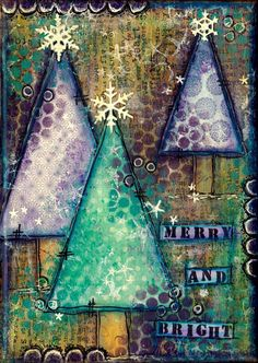mixed media... Artful Evidence: Christmas Tree Canvases