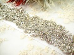 bridal Sash motif, Wedding Crystal Applique, Wedding Rhinestone, Applique,  wedding belt Motif, Rhinetones trim for dress