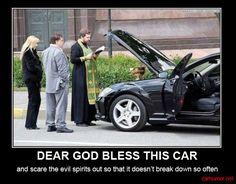 Truck driver humor | car-humor-funny-joke-road-drive-driver-god-bless-mercedes-priest