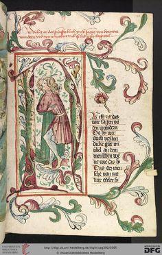 Cod. Pal. germ. 300 Konrad von Megenberg Das Buch der Natur Hagenau - Werkstatt Diebold Lauber, um 1442-1448? Page: 170r N-Initiale mit Liebespaar zwischen Blattranken
