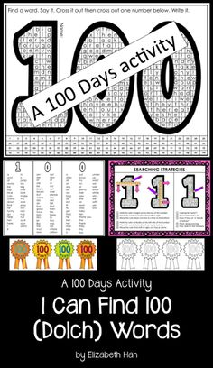 There are over 120 Dolch words for students to find, read, say and write in this word find. When they've reached 100, give them an award! $ #100days #Dolch #wordfinds #kindergartenreading