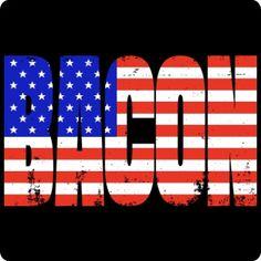Bacon American Flag T-Shirt (Funny Bacon Tee)