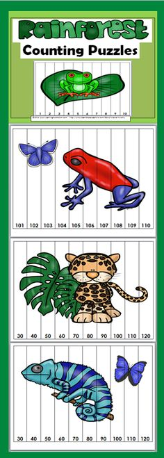 Math Number Puzzles for Kids Rainforest Counting Puzzles (Numbers Counting Puzzles (Numbers Counting Puzzles, Number Puzzles, Math Numbers, Puzzles For Kids, Rainforest Preschool, Preschool Jungle, Rainforest Theme, Jungle Theme Classroom, Math Classroom