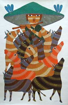 Gond tribal paintings originated from Madhya Pradesh a state of India where most of the people earn their livings through cultivation. Pichwai Paintings, Indian Art Paintings, Krishna Painting, Madhubani Painting, Traditional Paintings, Traditional Art, Madhubani Art, Indian Folk Art, India Art