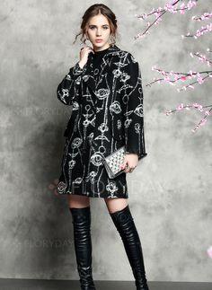 Lana y lana blend Como cuadro largo Manga larga Solapa Abrigos & Chaquetas (01715092772) - Floryday