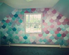 Mermaid room Mermaid wall Mermaid scales is part of Mermaid room - Mermaid Bedroom, Mermaid Nursery Decor, Mermaid Girls Rooms, Little Mermaid Room, My New Room, My Room, Girls Bedroom, Bedroom Decor, Bedroom Ideas