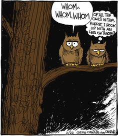 """""""Whom ... Whom ... Whom ...  Of all the owls in this forest, I hook up with an English teacher."""" Deering"""