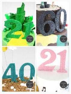 Double Gum Paste Glitter Numbers Cake Toppers : Design @ 409