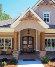Entry Portico With Cedar Columns On Stacked Stone