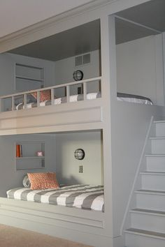 Bunk bed idea...built in with stairs.  Love the color too.