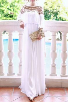 Beaded Chiffon Long Sleeve Maxi Dress