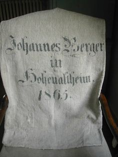 Antique German Grain Sack 1865. 150 Years Old by LaPouyette