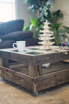 Reclaimed Barn Wood Coffee Table on Etsy, $599.95