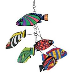United Art and Education Art Project:  Make a fabulous fish mobile using pre-cut canvas shapes!