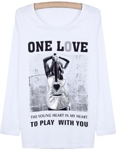 White Long Sleeve Violin Portrait Print T-Shirt US$22.65