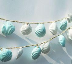 Seashell Garland Beach  Decoration, Blue and White Sea Shell Garland, Shabby Chic Coastal Cottage Home Decor