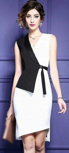 Fashion V-Neck Hit Color Belted Bodycon Dress – Moldes Moda Dress Skirt, Dress Up, Bodycon Dress, Modest Fashion, Fashion Dresses, Formal Fashion, Traje Casual, Mode Inspiration, Entrepreneur Inspiration