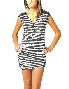 (CLICK IMAGE TWICE FOR DETAILS AND PRICING) Star Sighting Ruche Mini Dress Black_White. The possibilities are endless with this starry dress. Wear it year round with ankle boots, sandals, converse or add tights in winter. Swap jackets or accessories and create a different look each time.. See More Mini Dress at http://www.ourgreatshop.com/Mini-Dress-C90.aspx