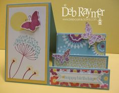 Side step card using Summer Silhouettes,Papillion Potpourri Stamps & Floral district Designer paper pack. Stampin' Up!