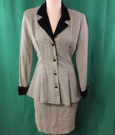 Vintage Black White Houndstooth Skirt Suit Size 6 Velvet Trim Marni West  #MarnieWest #SkirtSuit