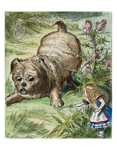 Alice in Wonderland - Alice and the Puppy ~ Sir John Tenniel Alice In Wonderland Clipart, Alice In Wonderland Illustrations, John Tenniel, Adventures In Wonderland, Book Illustration, Find Art, Illustrators, Giclee Print, Art Prints
